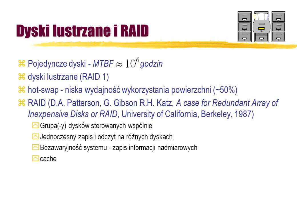 Dyski lustrzane i RAID zPojedyncze dyski - MTBF godzin zdyski lustrzane (RAID 1) zhot-swap - niska wydajność wykorzystania powierzchni (~50%) zRAID (D