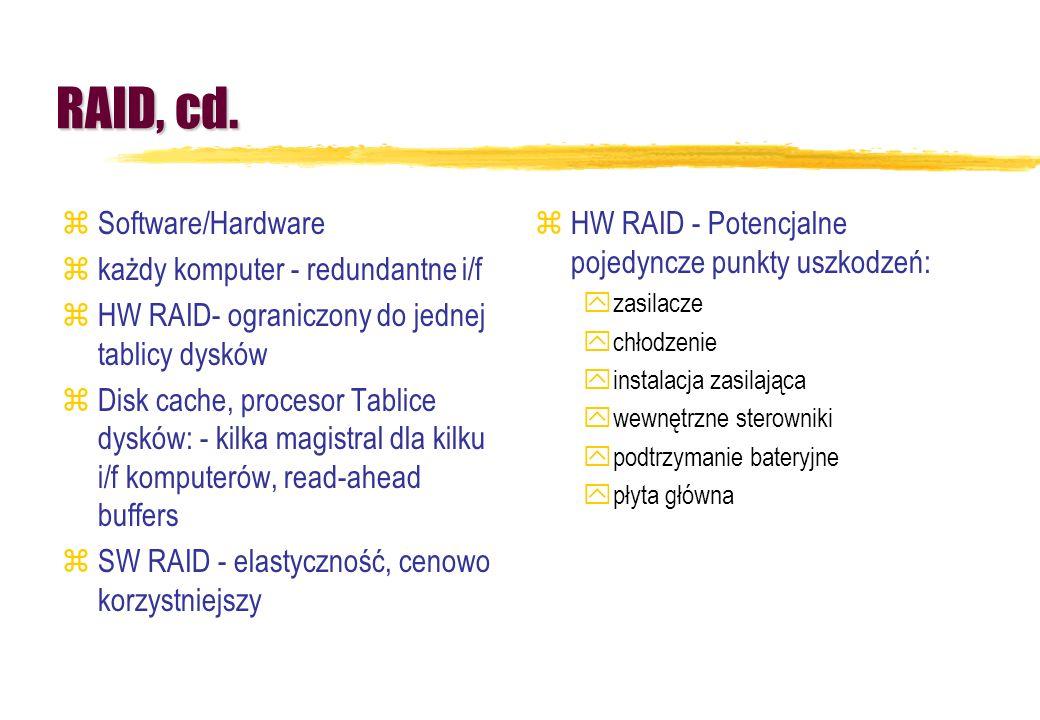 RAID, cd. zSoftware/Hardware zkażdy komputer - redundantne i/f zHW RAID- ograniczony do jednej tablicy dysków zDisk cache, procesor Tablice dysków: -