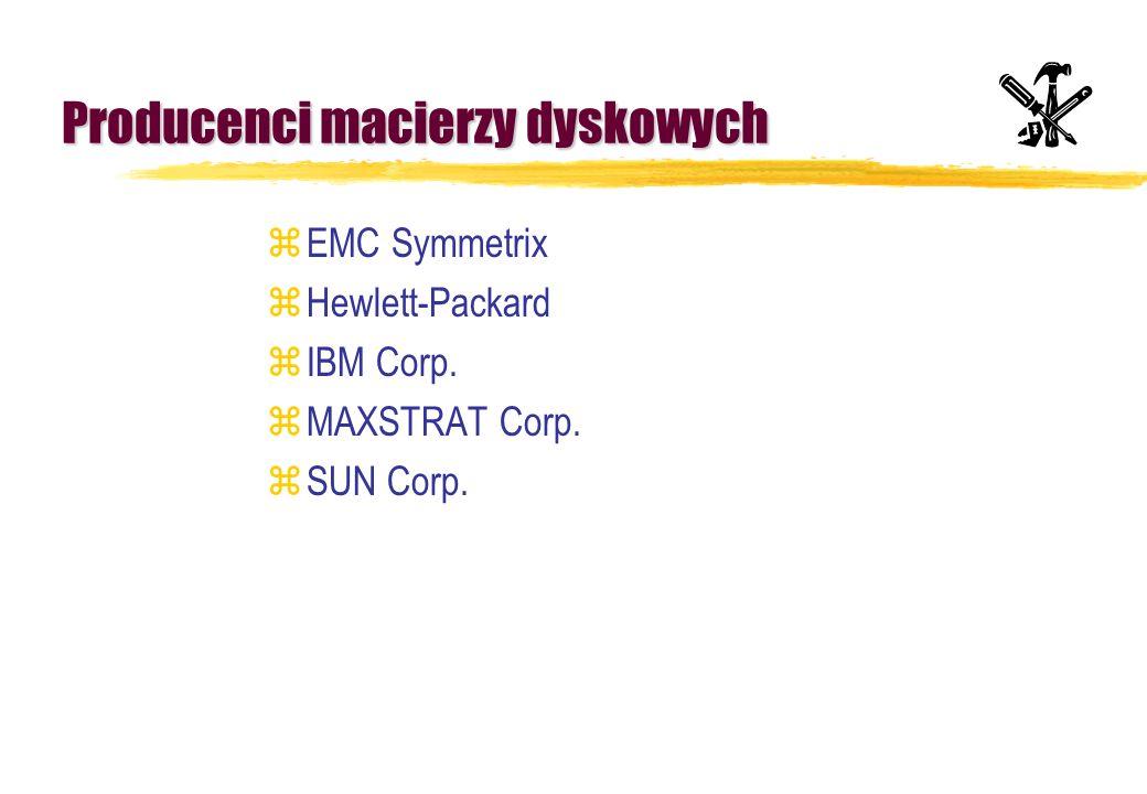 Producenci macierzy dyskowych zEMC Symmetrix zHewlett-Packard zIBM Corp. zMAXSTRAT Corp. zSUN Corp.