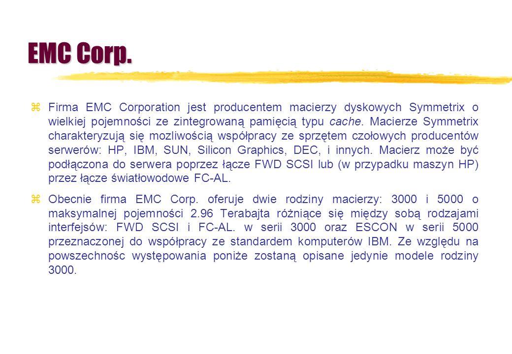 EMC Corp. zFirma EMC Corporation jest producentem macierzy dyskowych Symmetrix o wielkiej pojemności ze zintegrowaną pamięcią typu cache. Macierze Sym
