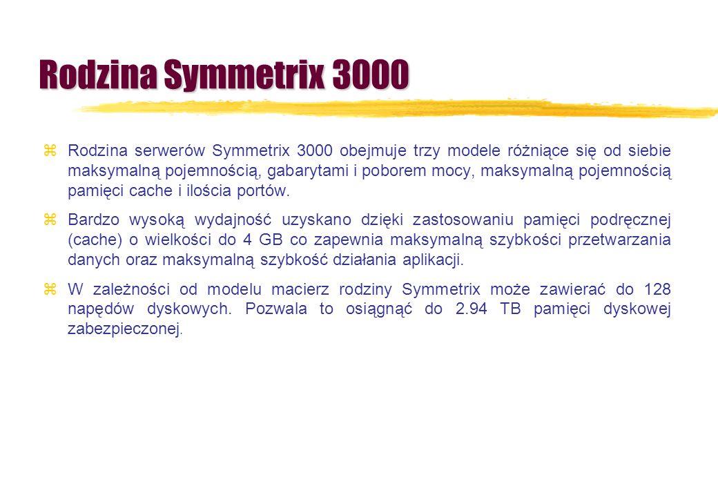 Rodzina Symmetrix 3000 zRodzina serwerów Symmetrix 3000 obejmuje trzy modele różniące się od siebie maksymalną pojemnością, gabarytami i poborem mocy,