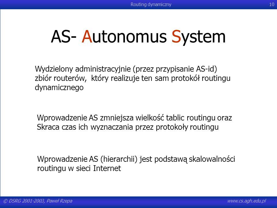 © DSRG 2001-2003, Paweł Rzepawww.cs.agh.edu.pl Routing dynamiczny10 AS- Autonomus System Wydzielony administracyjnie (przez przypisanie AS-id) zbiór r
