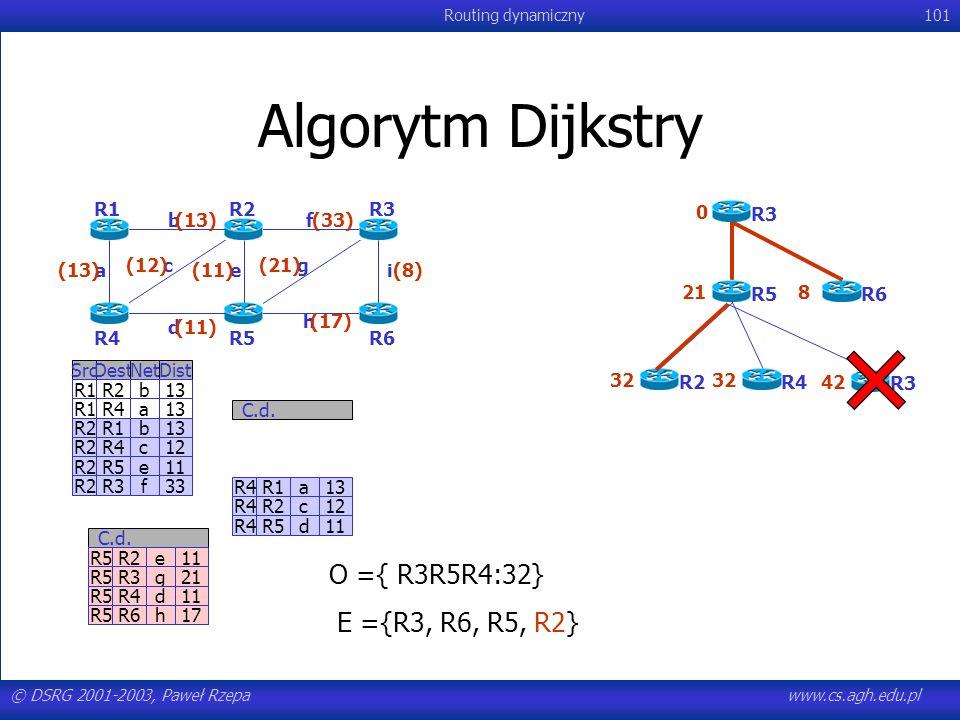 © DSRG 2001-2003, Paweł Rzepawww.cs.agh.edu.pl Routing dynamiczny101 Algorytm Dijkstry R4R1a13 R4R2c12 R4R5d11 C.d. SrcDestNetDist R1R2b13 R1R4a13 R2R