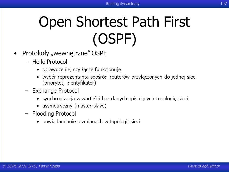 © DSRG 2001-2003, Paweł Rzepawww.cs.agh.edu.pl Routing dynamiczny107 Open Shortest Path First (OSPF) Protokoły wewnętrzne OSPF –Hello Protocol sprawdz