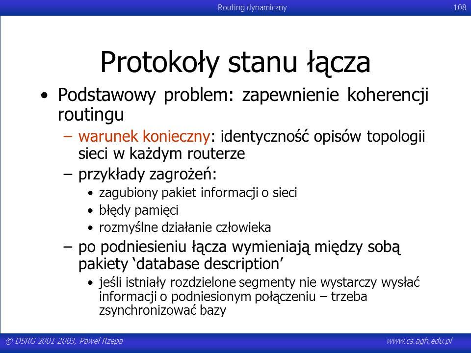 © DSRG 2001-2003, Paweł Rzepawww.cs.agh.edu.pl Routing dynamiczny108 Protokoły stanu łącza Podstawowy problem: zapewnienie koherencji routingu –warune