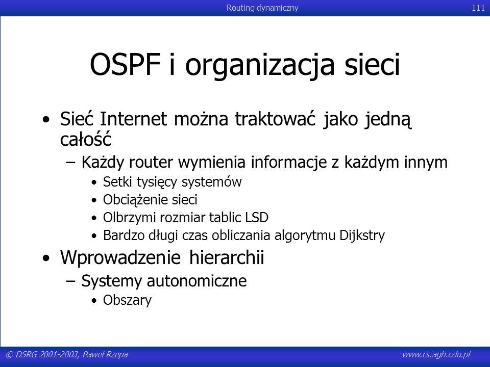 © DSRG 2001-2003, Paweł Rzepawww.cs.agh.edu.pl Routing dynamiczny111 OSPF i organizacja sieci Sieć Internet można traktować jako jedną całość –Każdy r