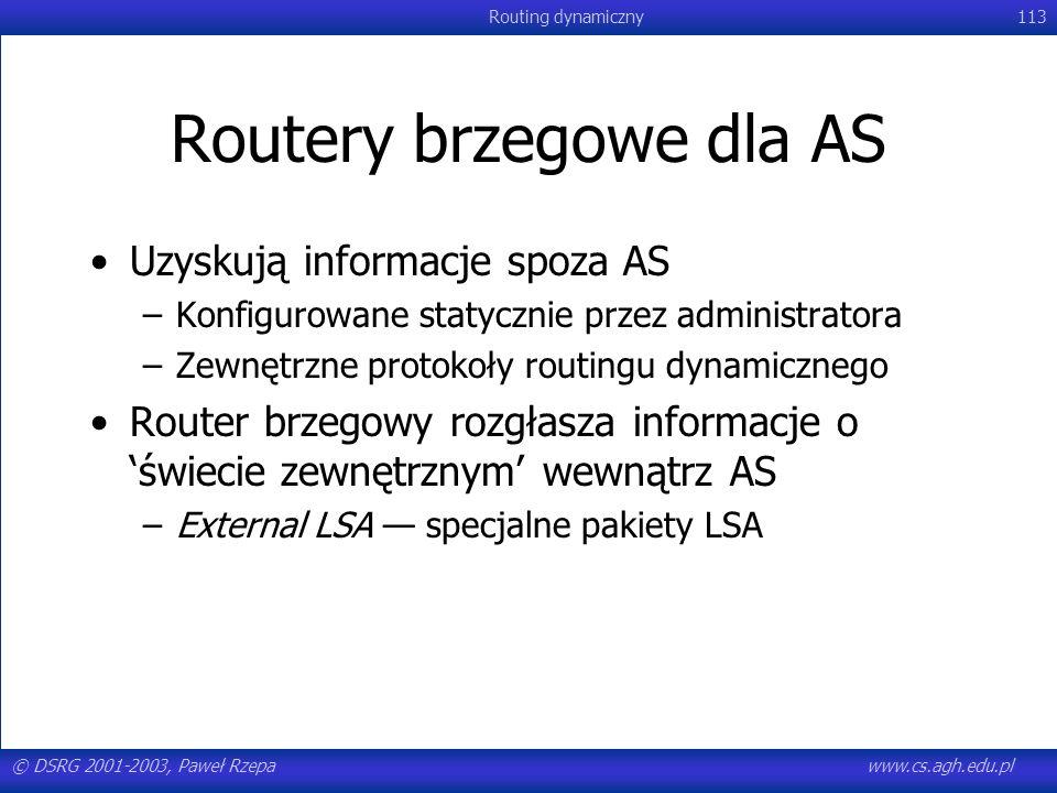 © DSRG 2001-2003, Paweł Rzepawww.cs.agh.edu.pl Routing dynamiczny113 Routery brzegowe dla AS Uzyskują informacje spoza AS –Konfigurowane statycznie pr