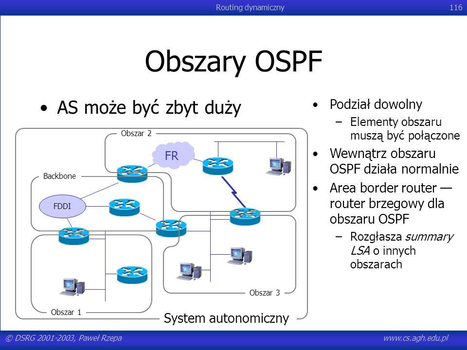 © DSRG 2001-2003, Paweł Rzepawww.cs.agh.edu.pl Routing dynamiczny116 Obszary OSPF AS może być zbyt duży FDDI FR Backbone Obszar 1 Obszar 2 Obszar 3 Sy