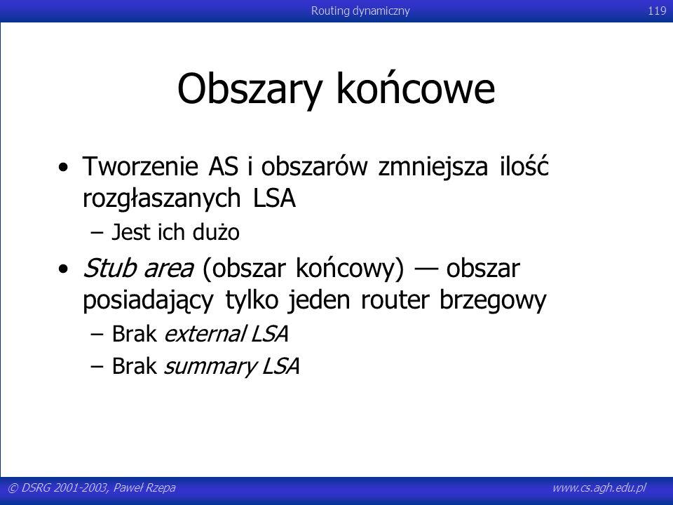 © DSRG 2001-2003, Paweł Rzepawww.cs.agh.edu.pl Routing dynamiczny119 Obszary końcowe Tworzenie AS i obszarów zmniejsza ilość rozgłaszanych LSA –Jest i