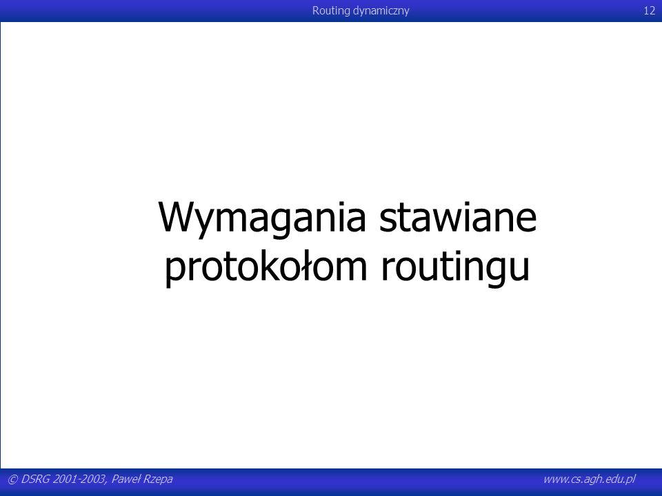 © DSRG 2001-2003, Paweł Rzepawww.cs.agh.edu.pl Routing dynamiczny12 Wymagania stawiane protokołom routingu