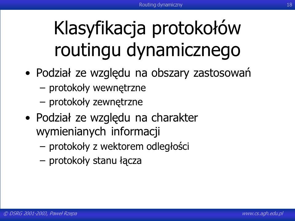 © DSRG 2001-2003, Paweł Rzepawww.cs.agh.edu.pl Routing dynamiczny18 Klasyfikacja protokołów routingu dynamicznego Podział ze względu na obszary zastos