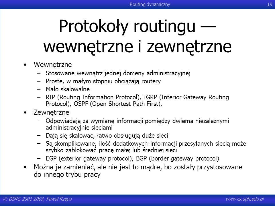 © DSRG 2001-2003, Paweł Rzepawww.cs.agh.edu.pl Routing dynamiczny19 Protokoły routingu wewnętrzne i zewnętrzne Wewnętrzne –Stosowane wewnątrz jednej d
