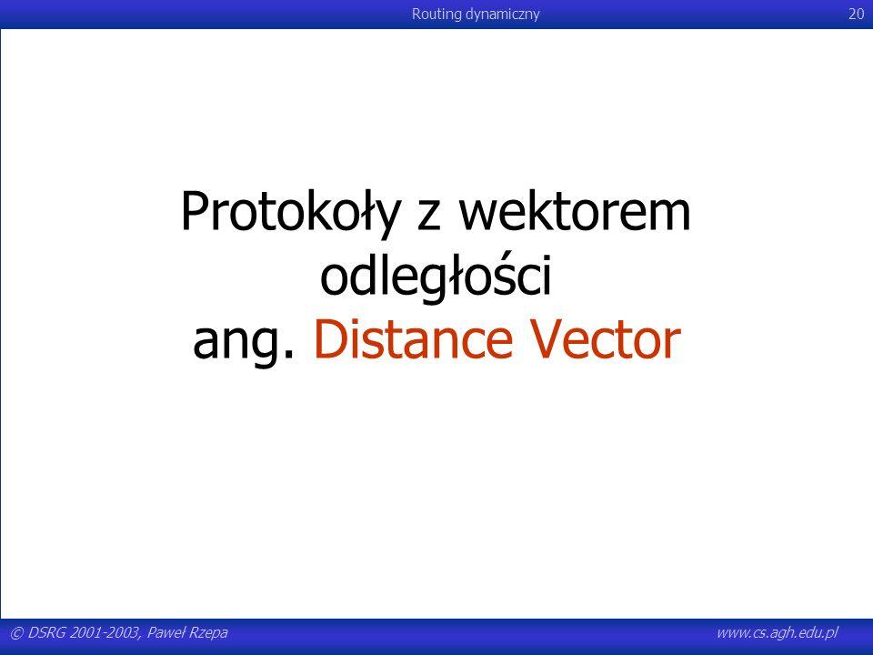 © DSRG 2001-2003, Paweł Rzepawww.cs.agh.edu.pl Routing dynamiczny20 Protokoły z wektorem odległości ang. Distance Vector