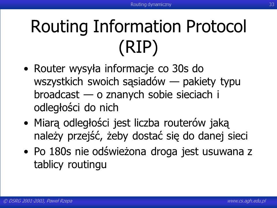 © DSRG 2001-2003, Paweł Rzepawww.cs.agh.edu.pl Routing dynamiczny33 Routing Information Protocol (RIP) Router wysyła informacje co 30s do wszystkich s