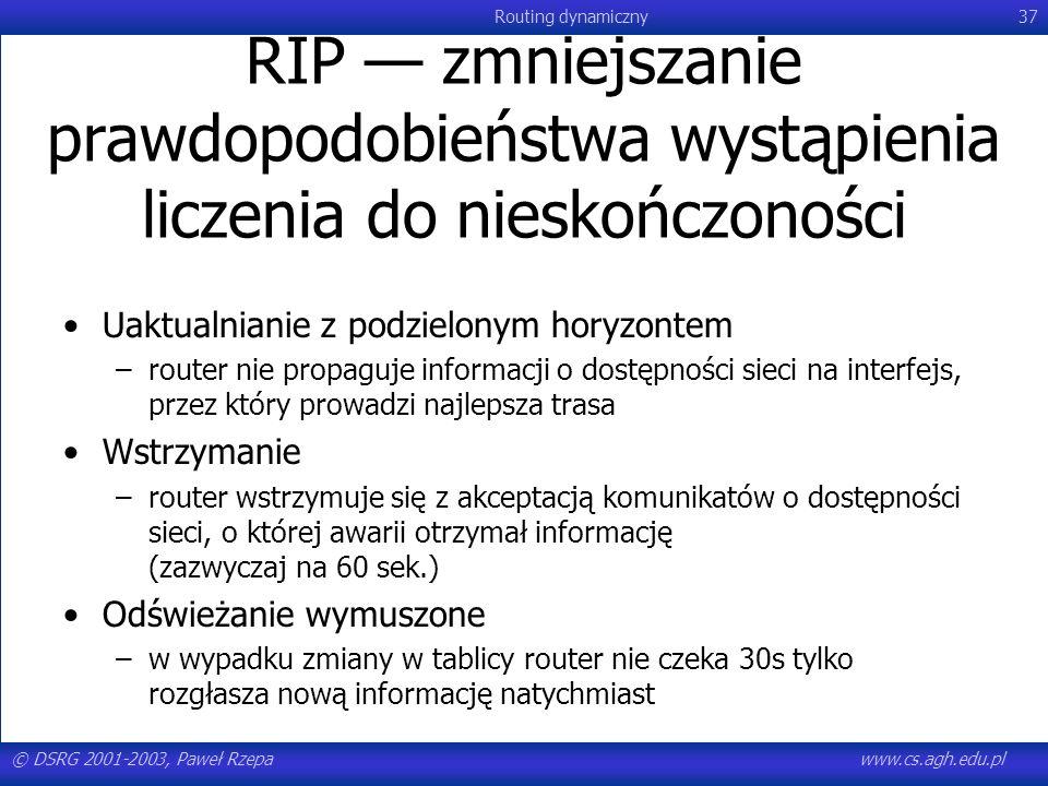 © DSRG 2001-2003, Paweł Rzepawww.cs.agh.edu.pl Routing dynamiczny37 RIP zmniejszanie prawdopodobieństwa wystąpienia liczenia do nieskończoności Uaktua