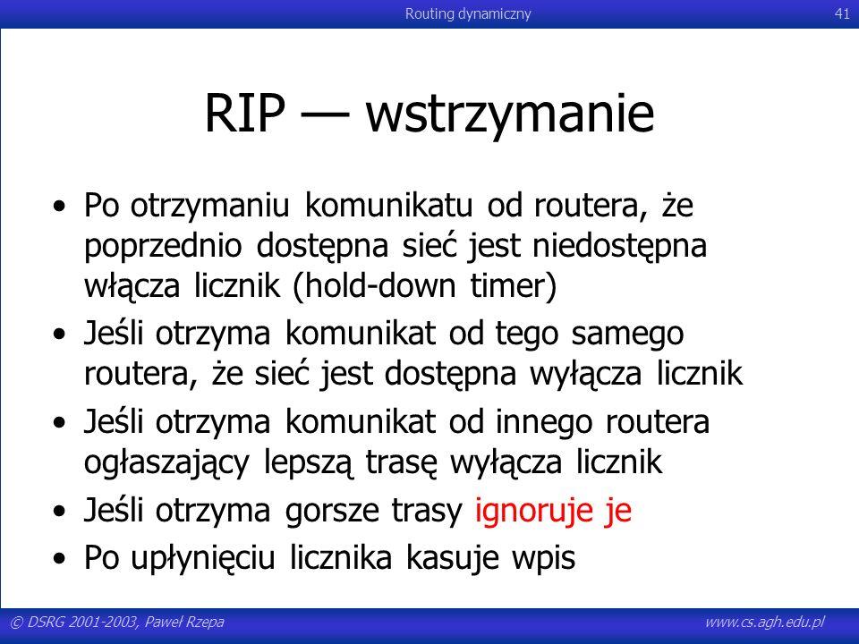 © DSRG 2001-2003, Paweł Rzepawww.cs.agh.edu.pl Routing dynamiczny41 RIP wstrzymanie Po otrzymaniu komunikatu od routera, że poprzednio dostępna sieć j