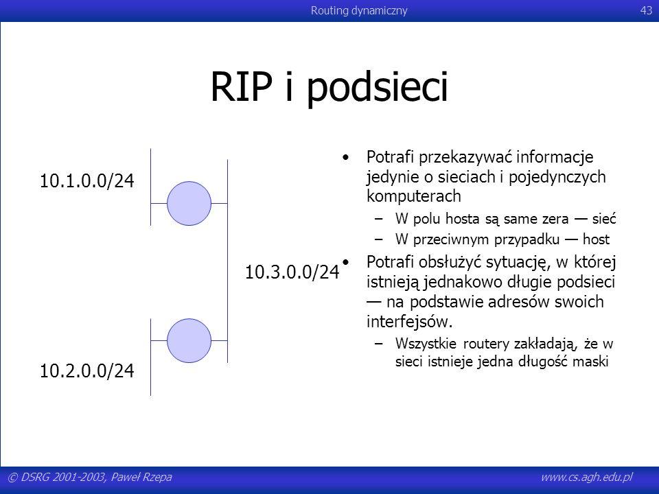 © DSRG 2001-2003, Paweł Rzepawww.cs.agh.edu.pl Routing dynamiczny43 RIP i podsieci 10.1.0.0/24 10.2.0.0/24 10.3.0.0/24 Potrafi przekazywać informacje