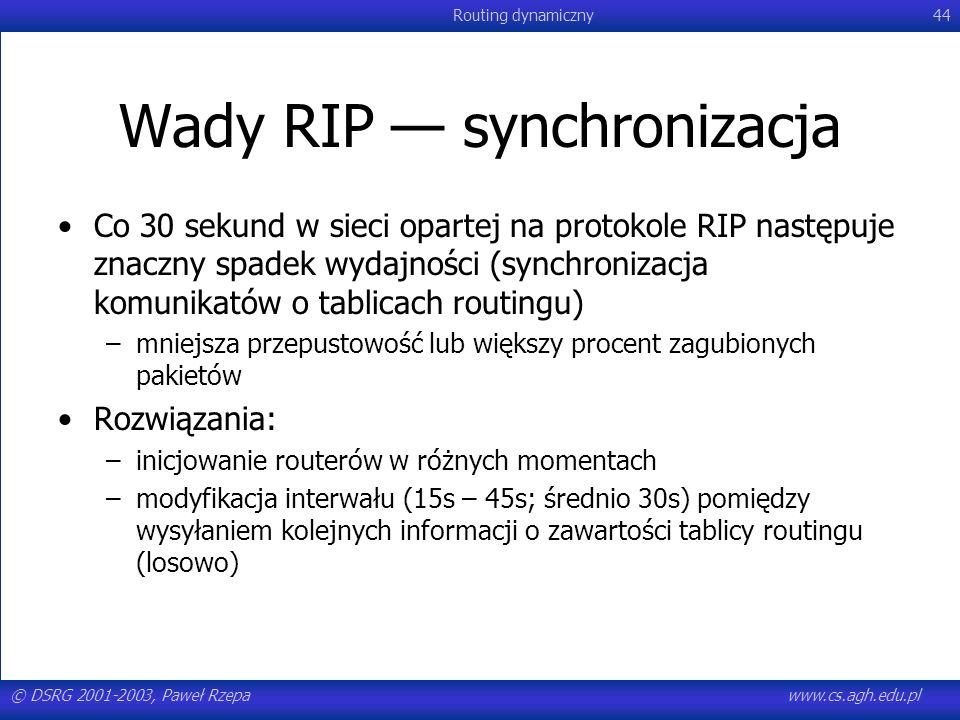 © DSRG 2001-2003, Paweł Rzepawww.cs.agh.edu.pl Routing dynamiczny44 Wady RIP synchronizacja Co 30 sekund w sieci opartej na protokole RIP następuje zn