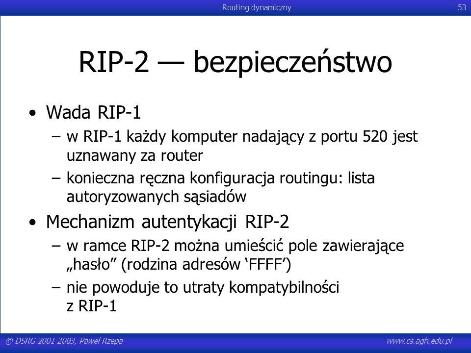 © DSRG 2001-2003, Paweł Rzepawww.cs.agh.edu.pl Routing dynamiczny53 RIP-2 bezpieczeństwo Wada RIP-1 –w RIP-1 każdy komputer nadający z portu 520 jest