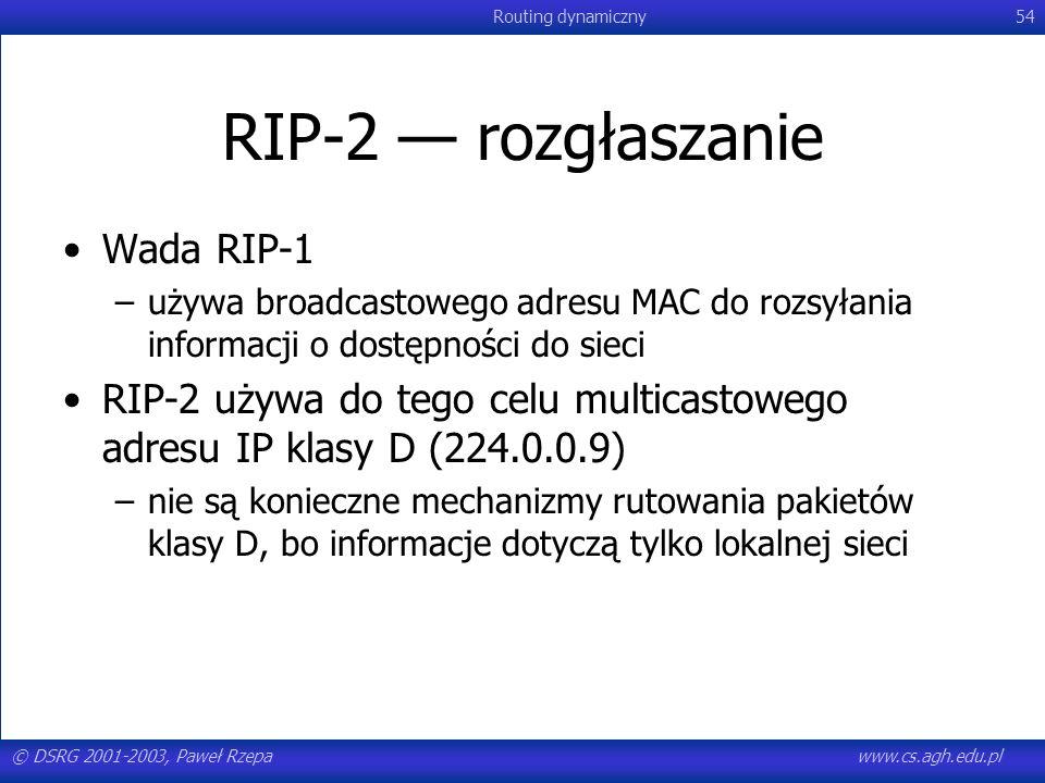 © DSRG 2001-2003, Paweł Rzepawww.cs.agh.edu.pl Routing dynamiczny54 RIP-2 rozgłaszanie Wada RIP-1 –używa broadcastowego adresu MAC do rozsyłania infor