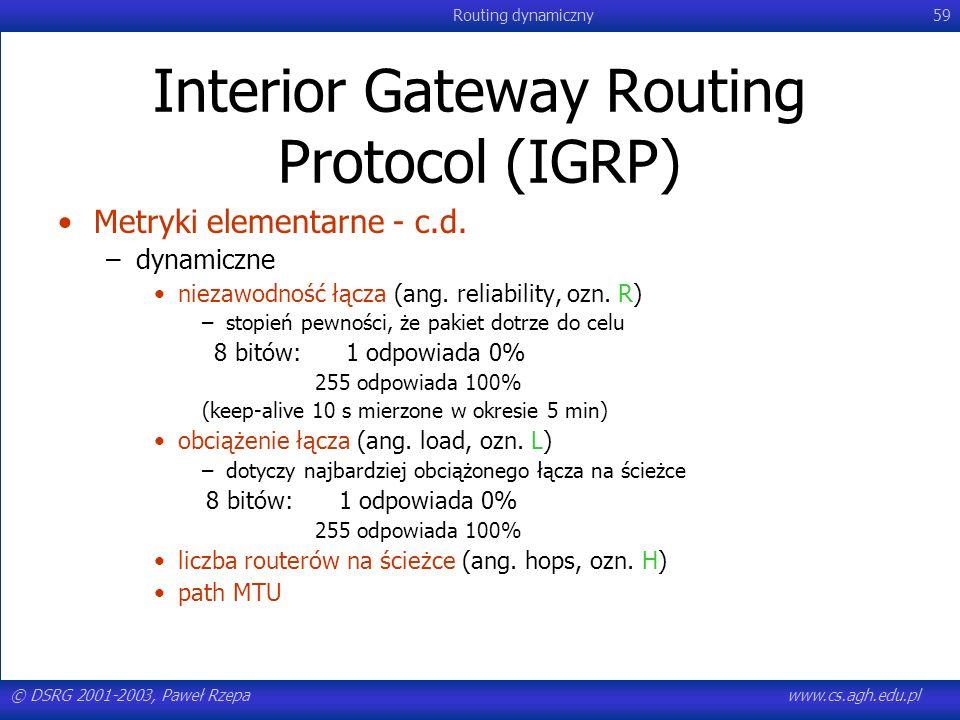 © DSRG 2001-2003, Paweł Rzepawww.cs.agh.edu.pl Routing dynamiczny59 Interior Gateway Routing Protocol (IGRP) Metryki elementarne - c.d. –dynamiczne ni