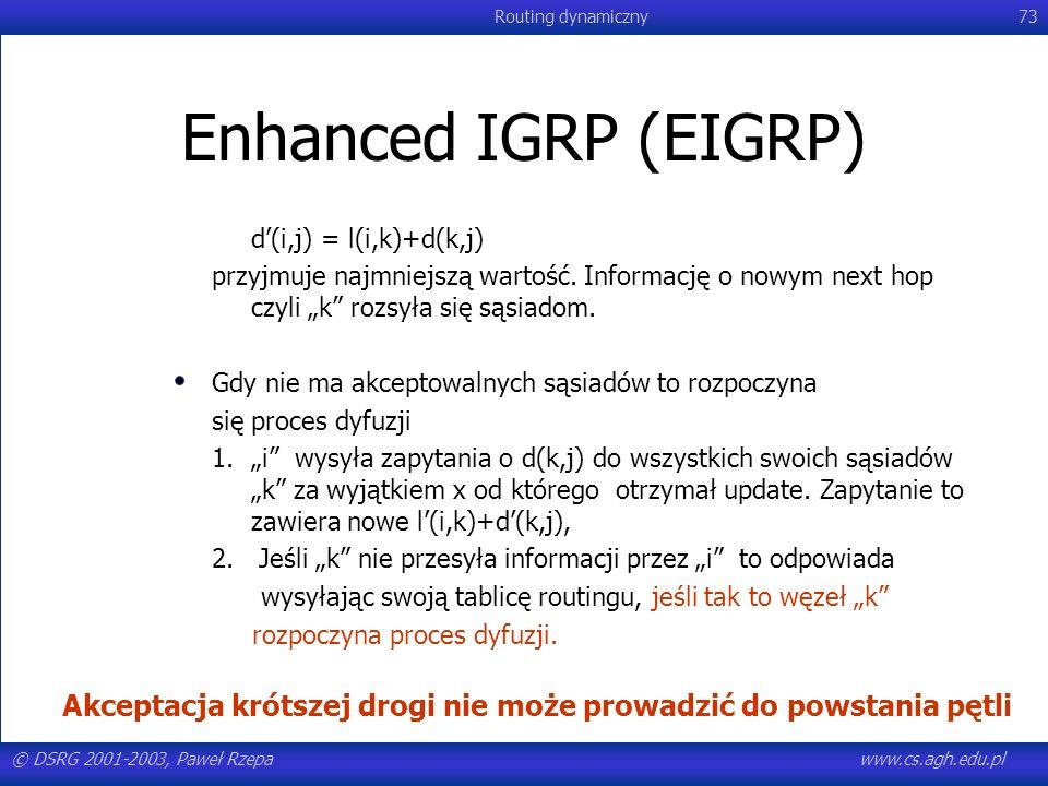 © DSRG 2001-2003, Paweł Rzepawww.cs.agh.edu.pl Routing dynamiczny73 Enhanced IGRP (EIGRP) d(i,j) = l(i,k)+d(k,j) przyjmuje najmniejszą wartość. Inform