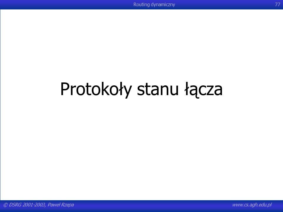 © DSRG 2001-2003, Paweł Rzepawww.cs.agh.edu.pl Routing dynamiczny77 Protokoły stanu łącza