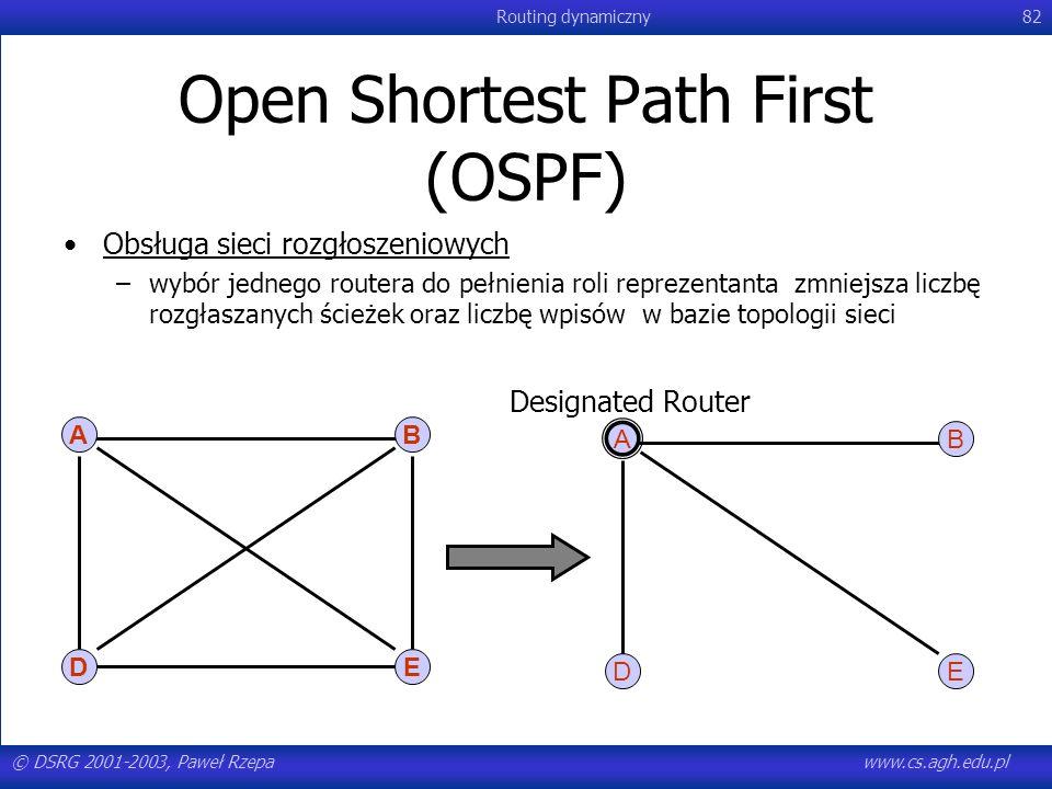 © DSRG 2001-2003, Paweł Rzepawww.cs.agh.edu.pl Routing dynamiczny82 Open Shortest Path First (OSPF) Obsługa sieci rozgłoszeniowych –wybór jednego rout