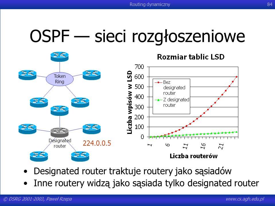 © DSRG 2001-2003, Paweł Rzepawww.cs.agh.edu.pl Routing dynamiczny84 OSPF sieci rozgłoszeniowe Token Ring Designated router Designated router traktuje