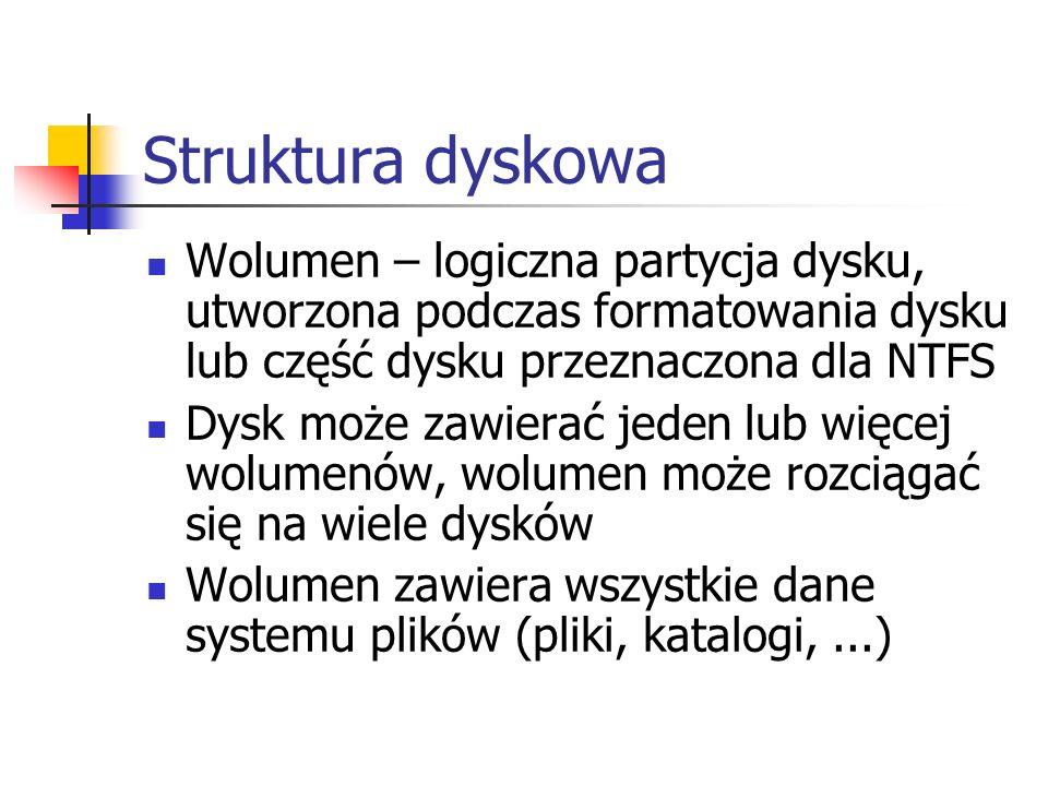 Struktura dyskowa Wolumen – logiczna partycja dysku, utworzona podczas formatowania dysku lub część dysku przeznaczona dla NTFS Dysk może zawierać jed