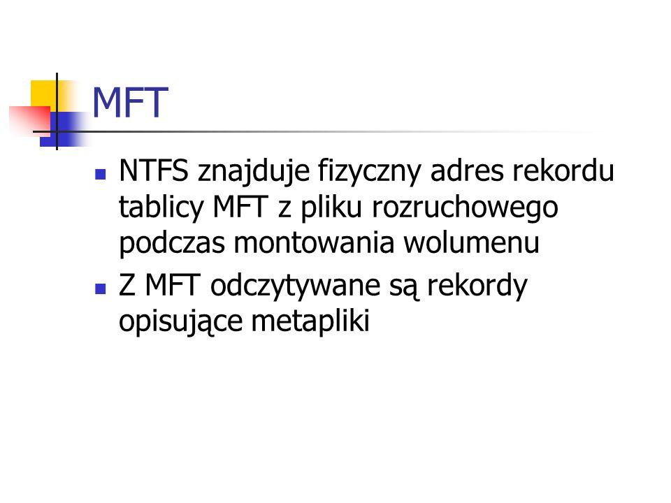 MFT NTFS znajduje fizyczny adres rekordu tablicy MFT z pliku rozruchowego podczas montowania wolumenu Z MFT odczytywane są rekordy opisujące metapliki