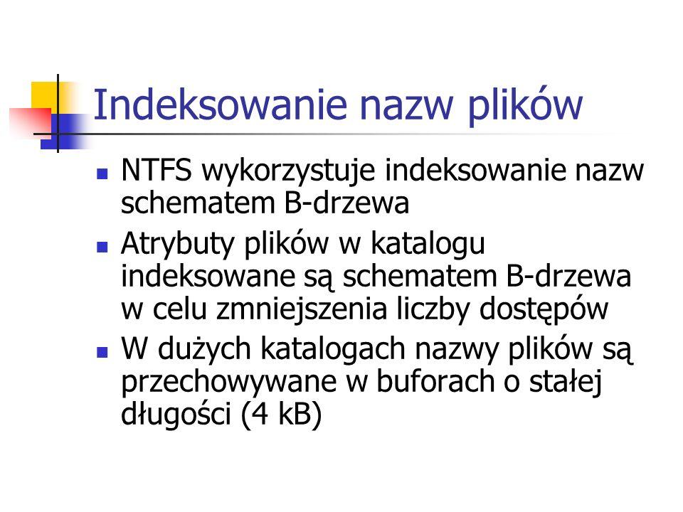 Indeksowanie nazw plików NTFS wykorzystuje indeksowanie nazw schematem B-drzewa Atrybuty plików w katalogu indeksowane są schematem B-drzewa w celu zm