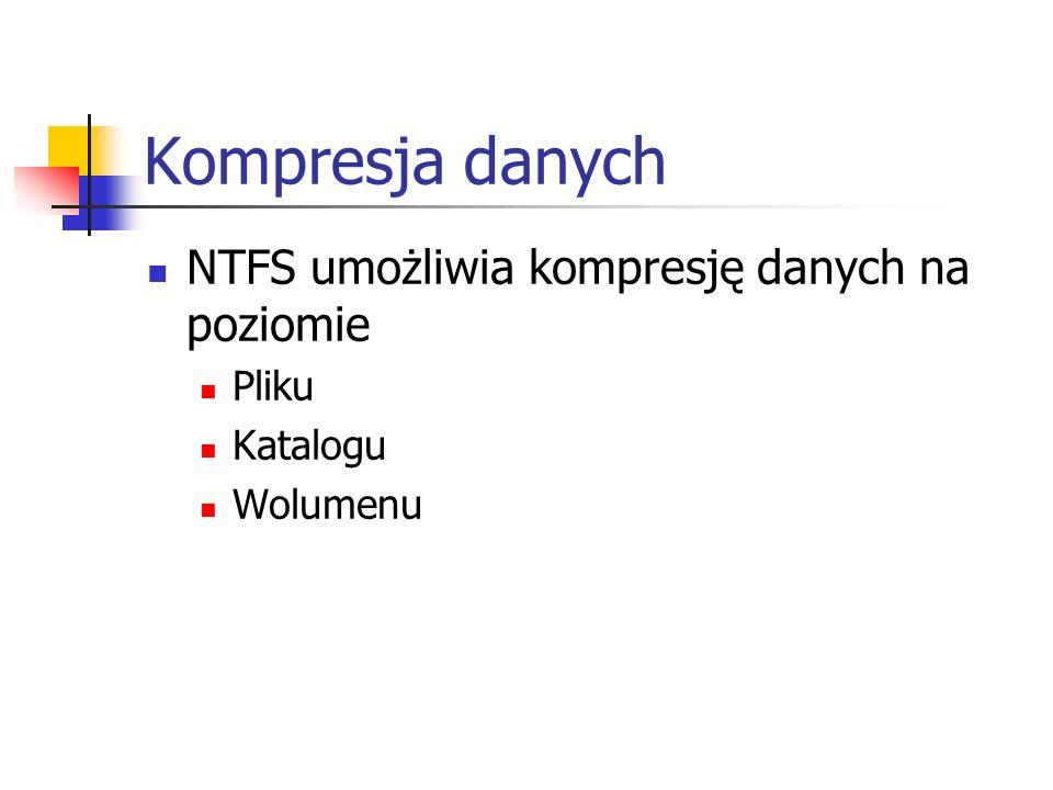 Kompresja danych NTFS umożliwia kompresję danych na poziomie Pliku Katalogu Wolumenu