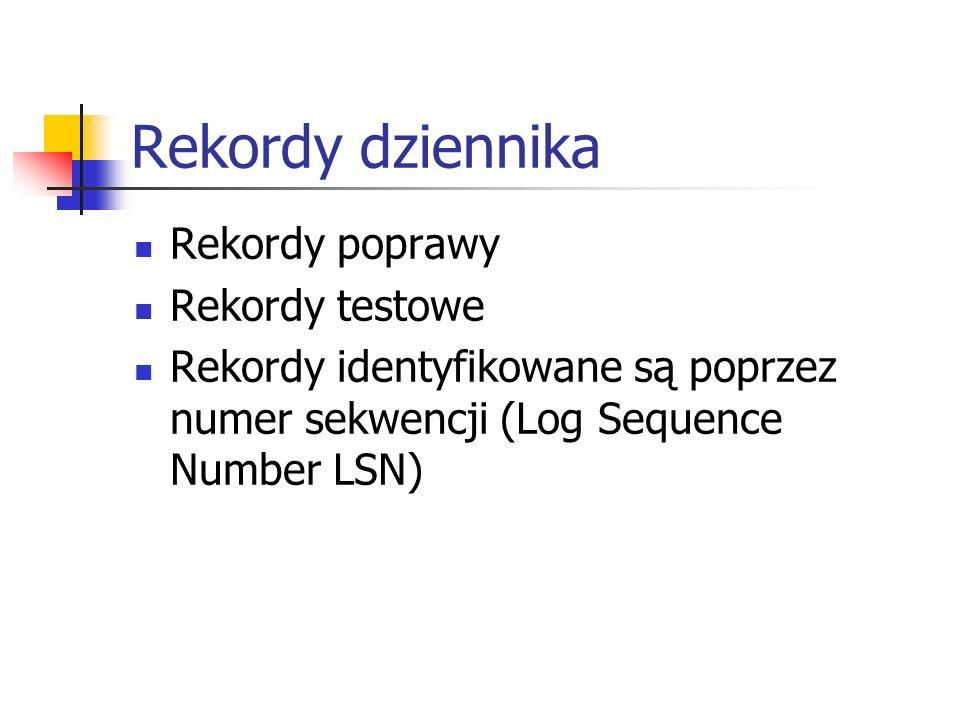 Rekordy dziennika Rekordy poprawy Rekordy testowe Rekordy identyfikowane są poprzez numer sekwencji (Log Sequence Number LSN)