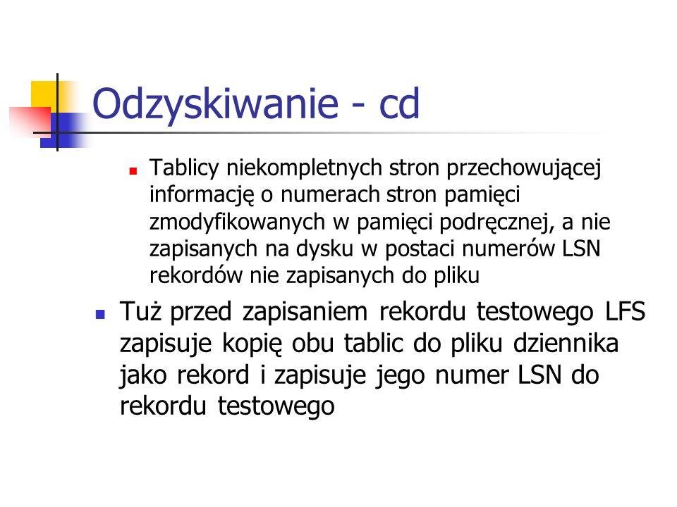 Odzyskiwanie - cd Tablicy niekompletnych stron przechowującej informację o numerach stron pamięci zmodyfikowanych w pamięci podręcznej, a nie zapisany