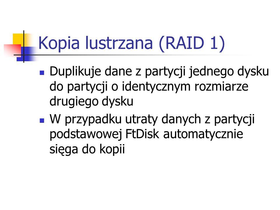 Kopia lustrzana (RAID 1) Duplikuje dane z partycji jednego dysku do partycji o identycznym rozmiarze drugiego dysku W przypadku utraty danych z partyc