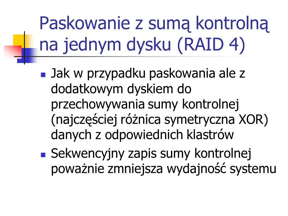 Paskowanie z sumą kontrolną na jednym dysku (RAID 4) Jak w przypadku paskowania ale z dodatkowym dyskiem do przechowywania sumy kontrolnej (najczęście
