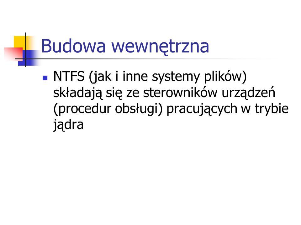 Budowa wewnętrzna NTFS (jak i inne systemy plików) składają się ze sterowników urządzeń (procedur obsługi) pracujących w trybie jądra