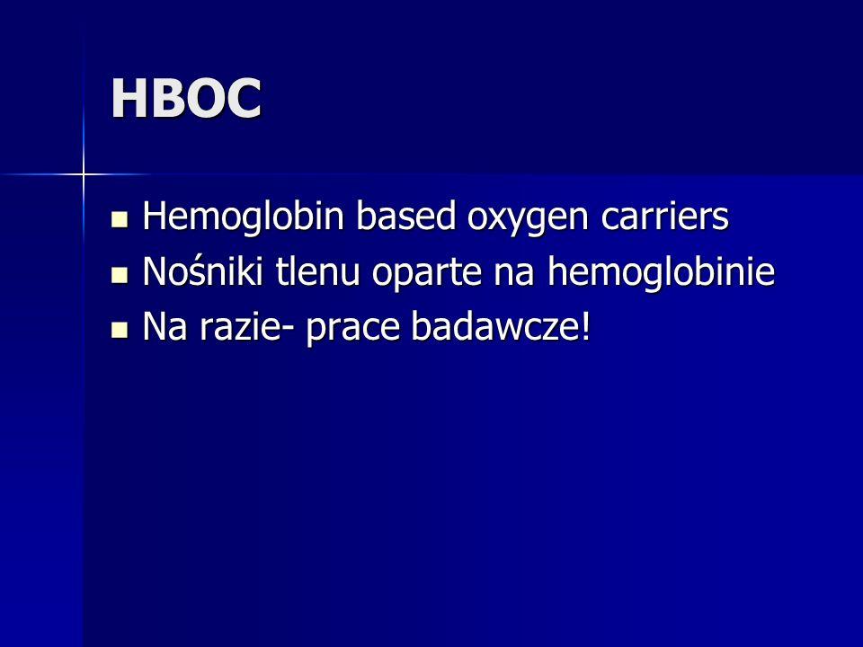 HBOC Hemoglobin based oxygen carriers Hemoglobin based oxygen carriers Nośniki tlenu oparte na hemoglobinie Nośniki tlenu oparte na hemoglobinie Na razie- prace badawcze.