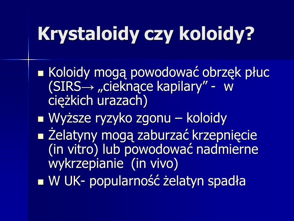 Krystaloidy czy koloidy? Koloidy mogą powodować obrzęk płuc (SIRS cieknące kapilary - w ciężkich urazach) Koloidy mogą powodować obrzęk płuc (SIRS cie