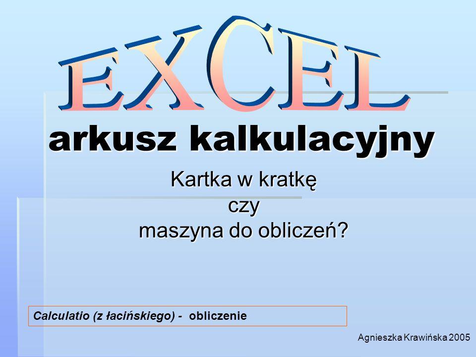 arkusz kalkulacyjny Kartka w kratkę czy maszyna do obliczeń? Calculatio (z łacińskiego) - obliczenie Agnieszka Krawińska 2005