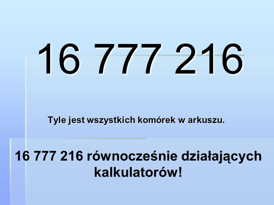 Tyle jest wszystkich komórek w arkuszu. 16 777 216 16 777 216 równocześnie działających kalkulatorów!