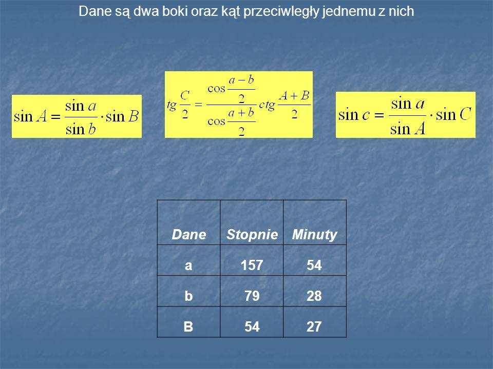 Dane są dwa boki oraz kąt przeciwległy jednemu z nich DaneStopnieMinuty a15754 b7928 B5427