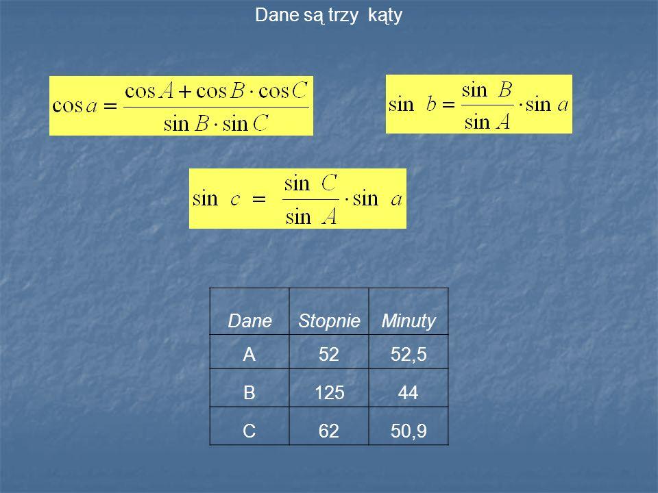 Dane są trzy kąty DaneStopnieMinuty A5252,5 B12544 C6250,9