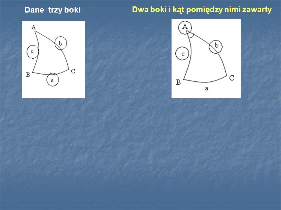 Dane trzy boki Dwa boki i kąt pomiędzy nimi zawarty
