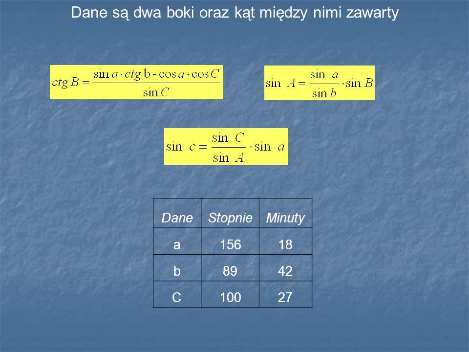 Dane są dwa boki oraz kąt między nimi zawarty DaneStopnieMinuty a15618 b8942 C10027