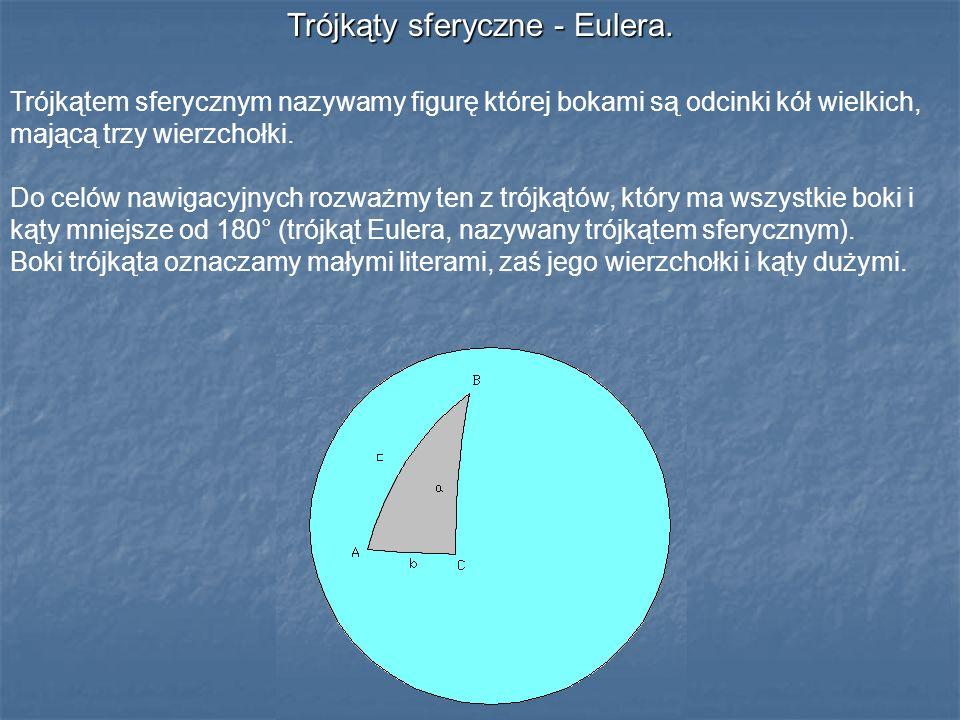 Trójkąty sferyczne - Eulera. Trójkątem sferycznym nazywamy figurę której bokami są odcinki kół wielkich, mającą trzy wierzchołki. Do celów nawigacyjny