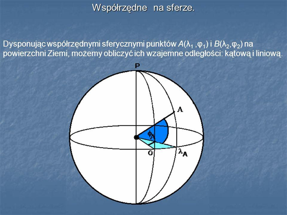 Współrzędne na sferze. Dysponując współrzędnymi sferycznymi punktów A(λ 1,φ 1 ) i B(λ 2,φ 2 ) na powierzchni Ziemi, możemy obliczyć ich wzajemne odleg
