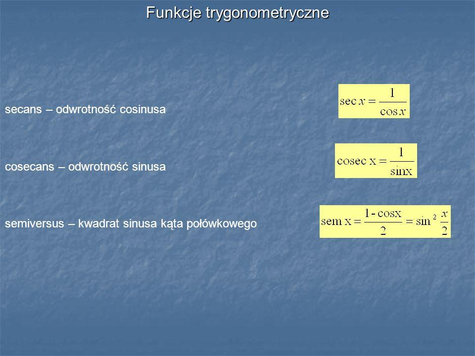 Funkcje trygonometryczne secans – odwrotność cosinusa cosecans – odwrotność sinusa semiversus – kwadrat sinusa kąta połówkowego