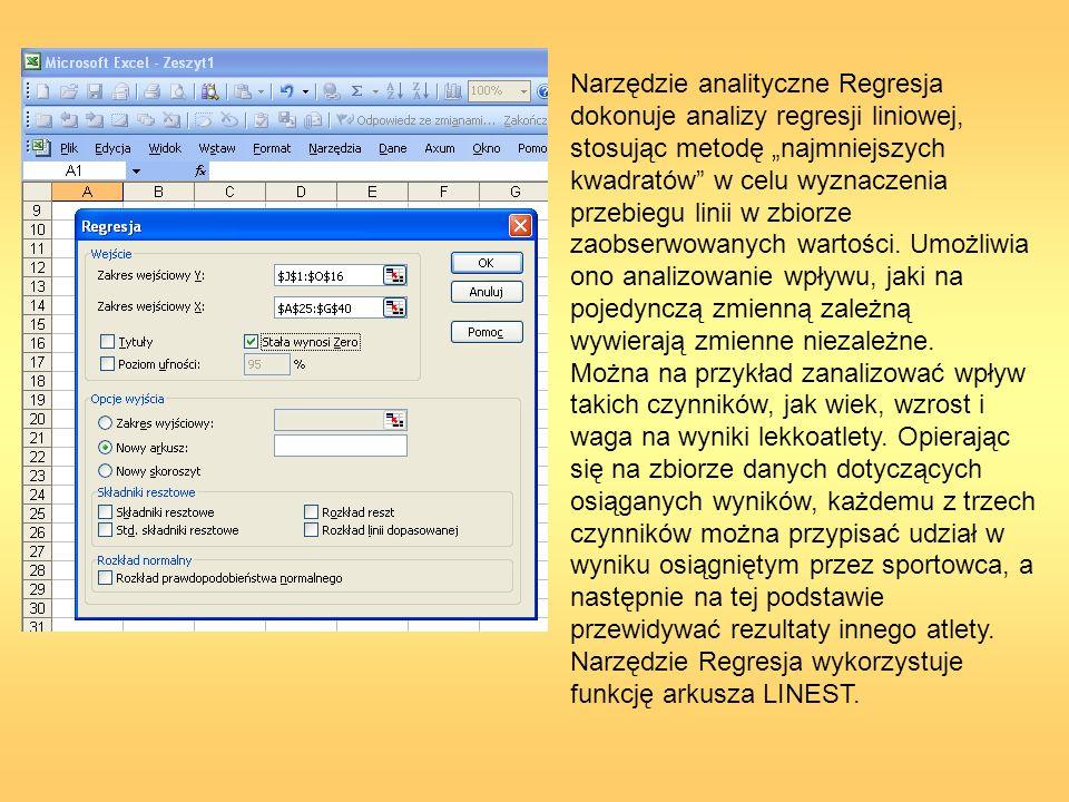 Narzędzie analityczne Regresja dokonuje analizy regresji liniowej, stosując metodę najmniejszych kwadratów w celu wyznaczenia przebiegu linii w zbiorz